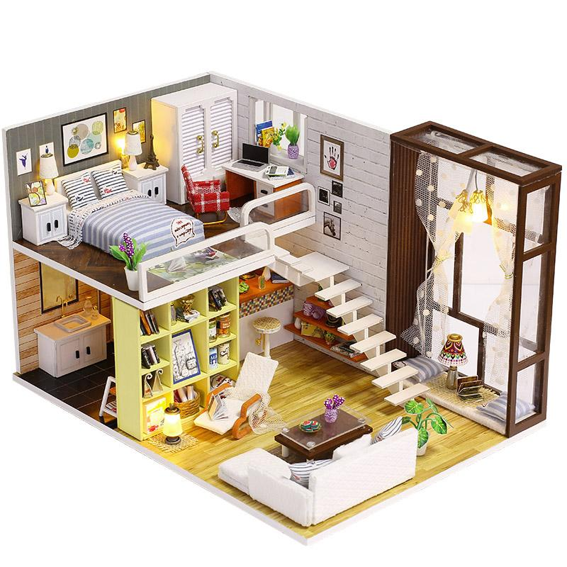 Diy Wooden Doll House Toy Dollhouse Miniature Assemble Kit With