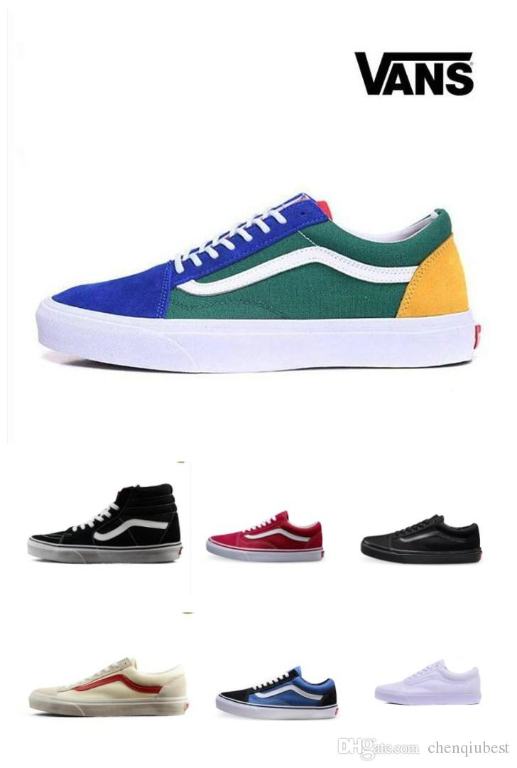 90beb08850 New Arrival Original vans old skool shoes black blue red Classic mens women canvas  sneakers fashion Skateboarding casual shoes size 35-44