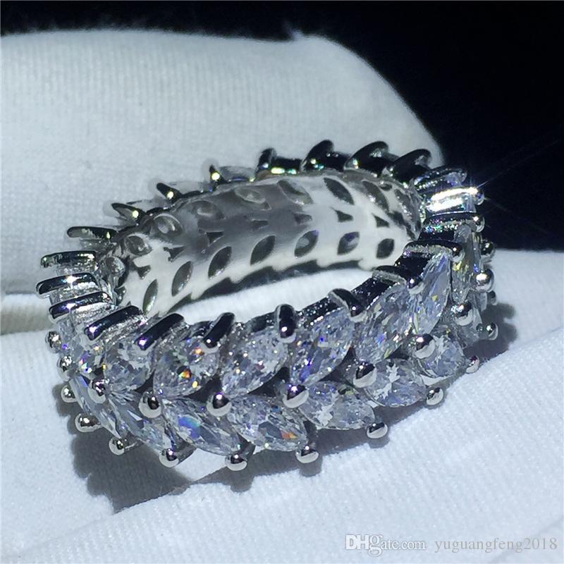 Kadınların Gelin Parmak Takı için Moda Çiçek halka 5A Temizle Taşlı Taş Beyaz Altın Dolgulu Nişan düğün bant halkası