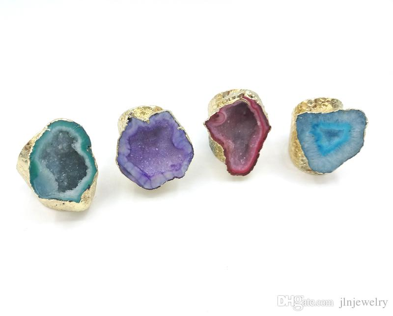 JLN Agate Geode Ring Free Size Royal Blue Sparkly Druzy Hollow Agate Gemstone Statement Gold Ring For Man And Woman