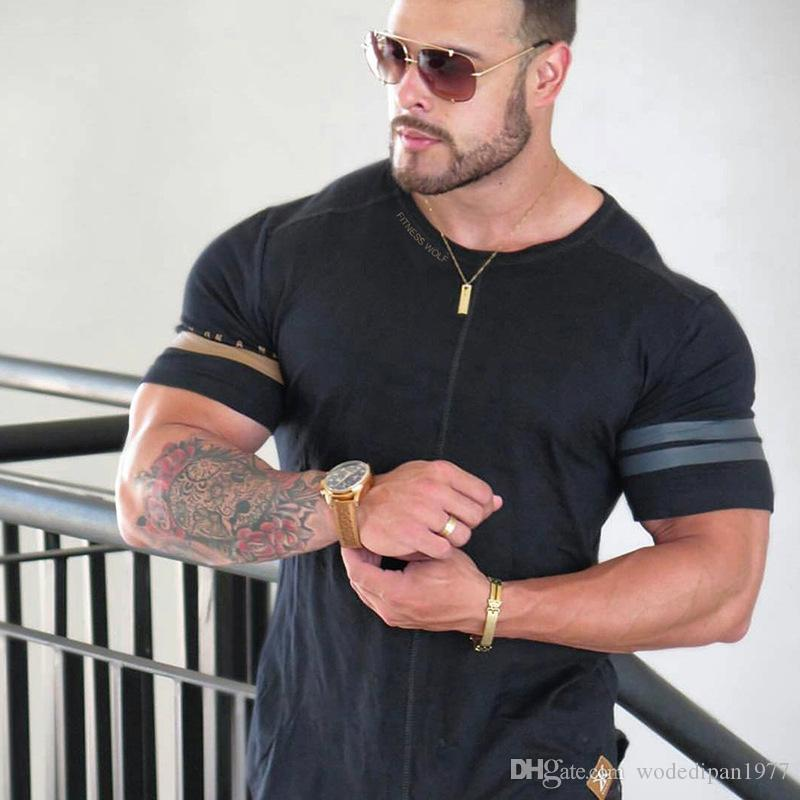 Men's Casual Loose Short Sleeve T-Shirts For Male Letter Print Summer Fitness Jogger Workout Tops Tees Shirts Drop Shipping