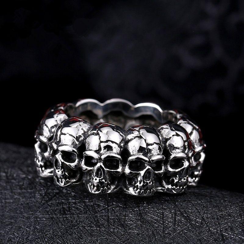 2018 nuovo anello dell'acciaio inossidabile 316L anello di punk di alta qualità del cranio per gli anelli degli anelli di modo degli uomini