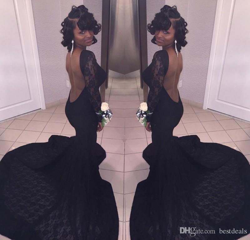 2018 흑인 인어 공주 댄스 파티 드레스 Vestidos 드 Fiesta 긴 소매 오픈 다시 레이스 이브닝 드레스 아프리카 댄스 파티 가운