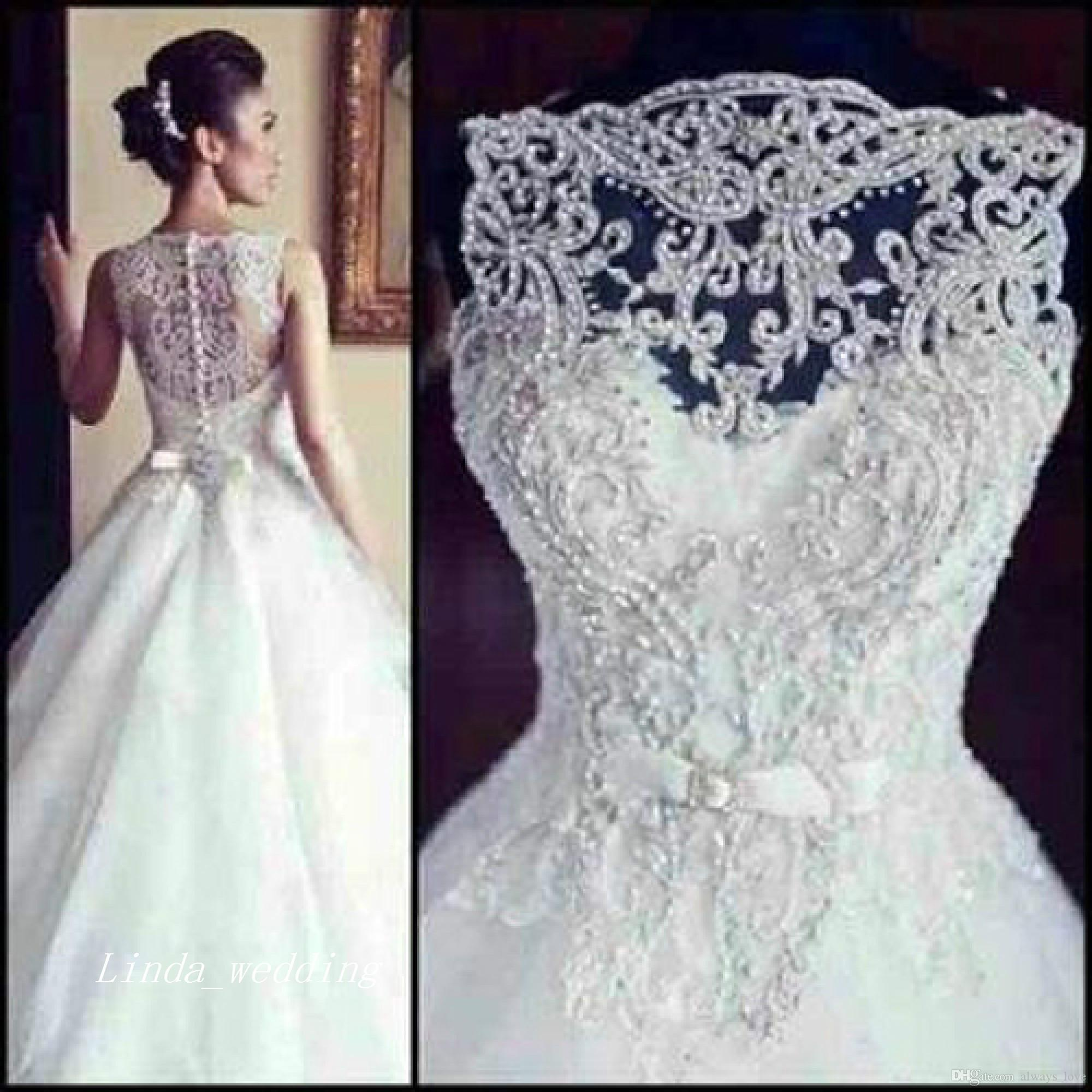 Discount Gorgeous Designer Bateau Neck Wedding Gown Covered In Crystal Pearls See Through Princess Wedding Dress Bridal Gown Anthropologie Wedding Dresses Bridal Gowns Online From Always Love 1 794 98 Dhgate Com