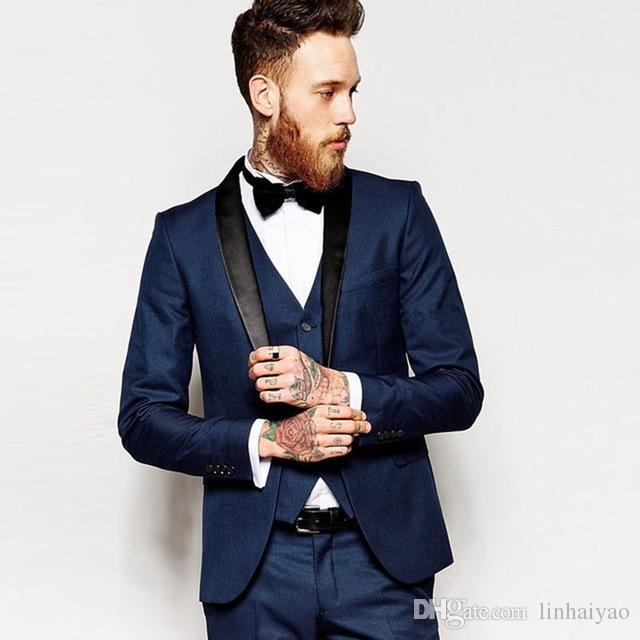 남성용 Trajes De Hombre 결혼식 정장 블랙 Shawl Lapel Navy Blue 신랑 정장 맞춤형 Skinny Tuxedo Mens Suits with Pants
