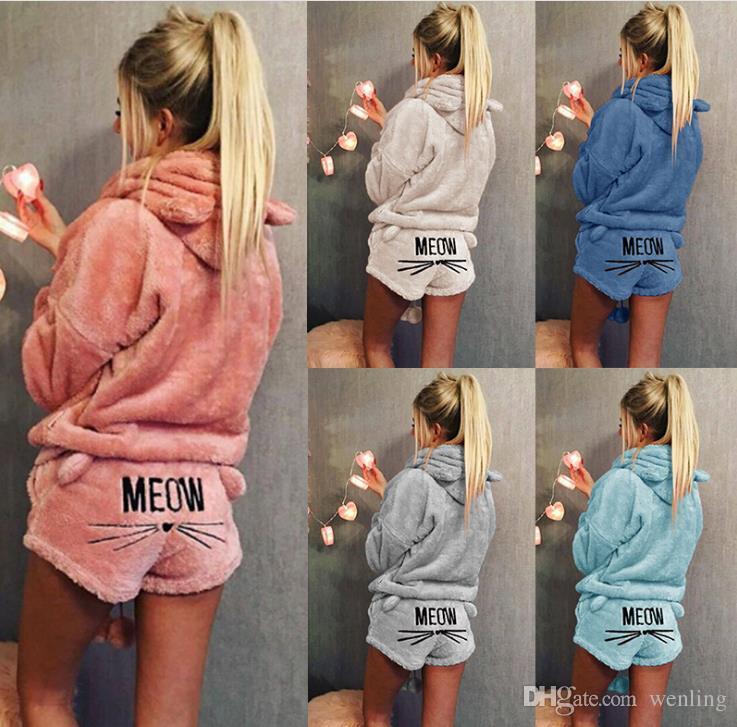 Herbst Winter Frauen zweiteilige Set Pyjamas warme Korallen Samt Anzug Nachtwäsche süße Katze Muster Hoodies Shorts Out Fit