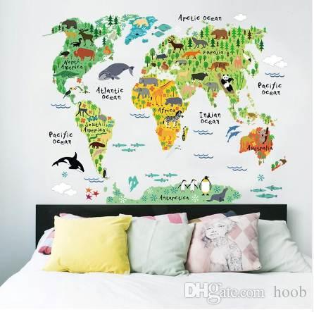 세계 동물지도 벽 스티커 만화 동물 벽 스티커 아트 동물원 포스터 037. 5.0