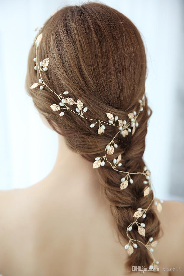 Bridal Headpiece Bridal leaf Headband Heavy beaded Gold leaves Bridal hair vine Boho wedding Bridal Hair Vine Gold wedding hair Halo