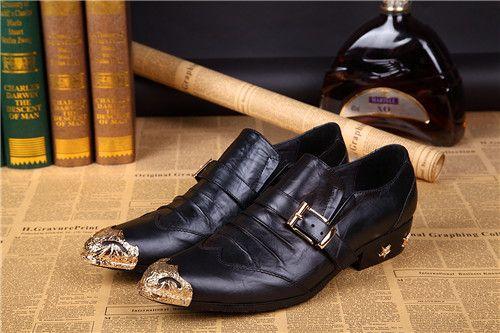2018 Nuovo stile Moda scarpe da punta a punta Scarpe da uomo in pelle PU Oxford Primavera in metallo Scarpe da sposa da uomo d'affari S463