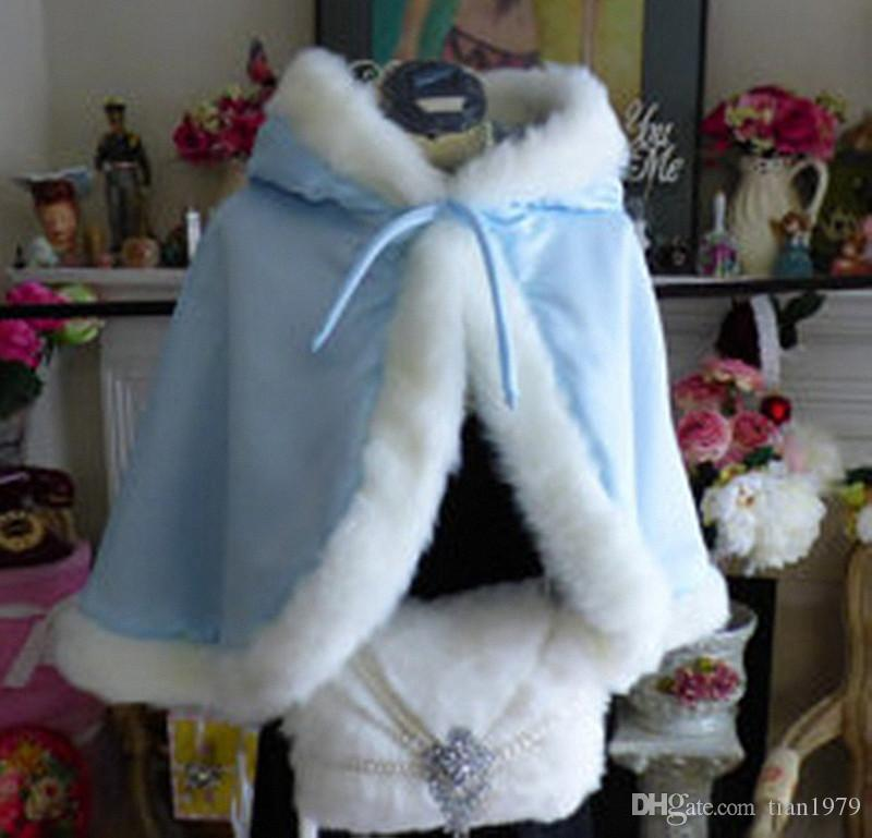 Blue color Children's Custom Made Girls Cape Kids Wedding Cloaks Faux Fur Jacket For Winter Kid Flower Girl Children Satin Child