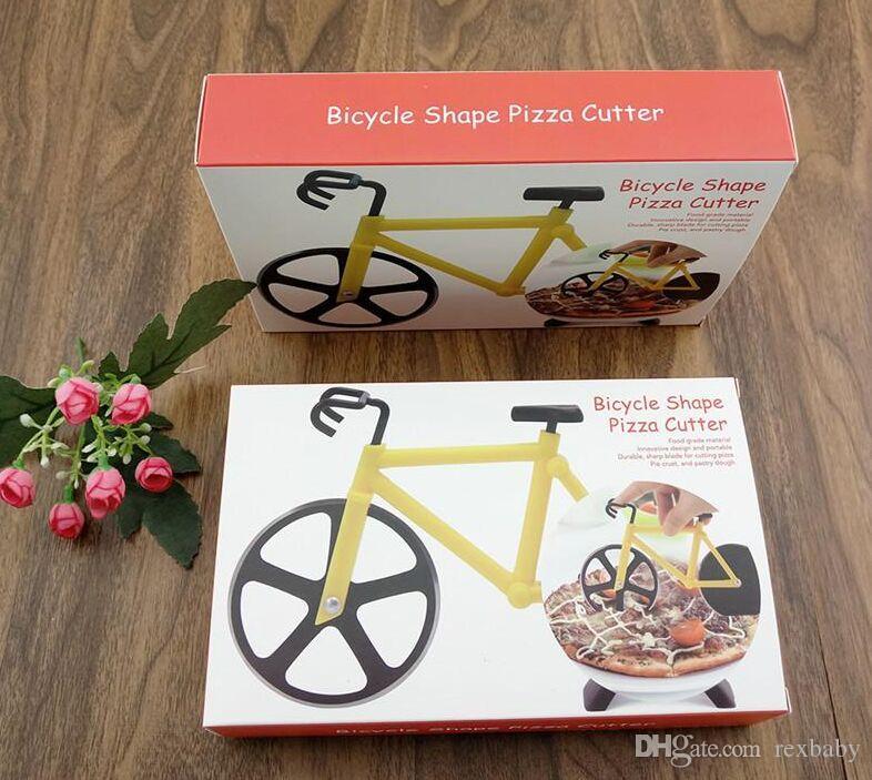 3 colores de Alta Calidad Bicicleta Cortador de Pizza Doble Acero Inoxidable Cortador de Pizza para Pizza herramientas de cocina Creativas