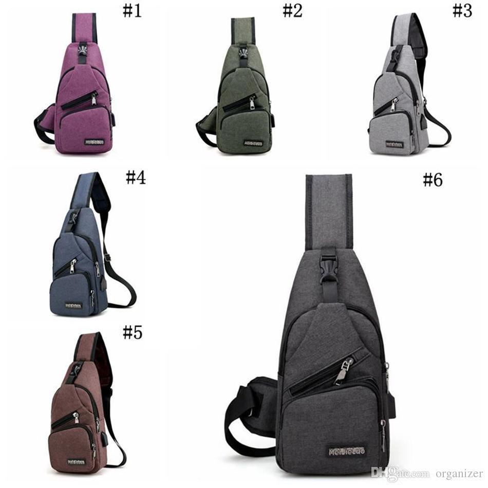 Erkekler USB Göğüs Çanta Sling çanta Büyük Kapasiteli Çanta Crossbody Çanta Omuz Çantası Şarj Messenger Çanta 6 Renkler 120 adet