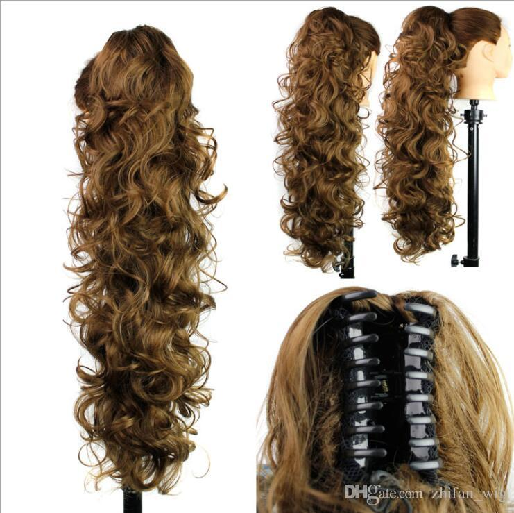 ZhiFan ponytails natural hair fashion 26inch ponytail hair extensions black women long curly claw one piece natural color hair