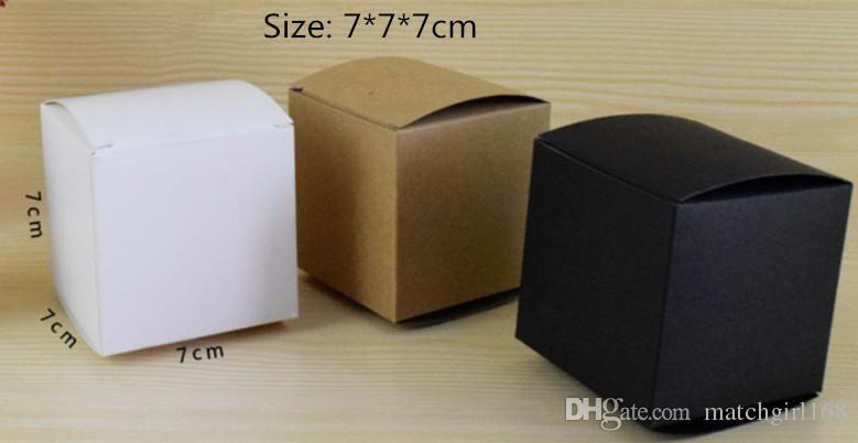 50 pcs 7 * 7 * 7 cm Branco Em Branco / Preto / Caixa De Embalagem De Papel Kraft DIY Sabão Artesanal caixas de presente cosmético válvula de tubos pacote