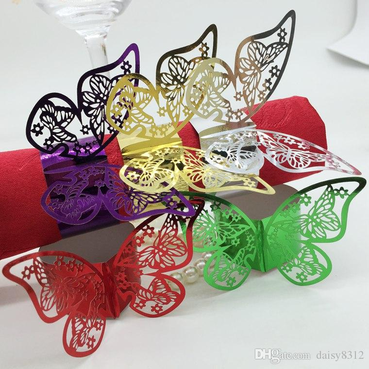 F13 240pcs Laser Cut Hollow Butterfly Paper Card Napkin Ring Serviette Buckle Holder Hotel Wedding Party Favour Decoration