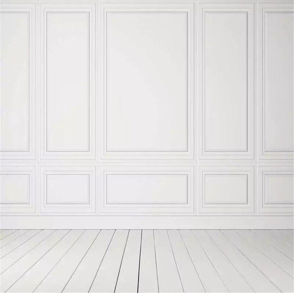 Pared blanca pura Fotografía de fondo Suelo de madera Impreso Interior Habitación Niños Niños Sesión de fotos Papel tapiz Wedding Party Booth Fondo