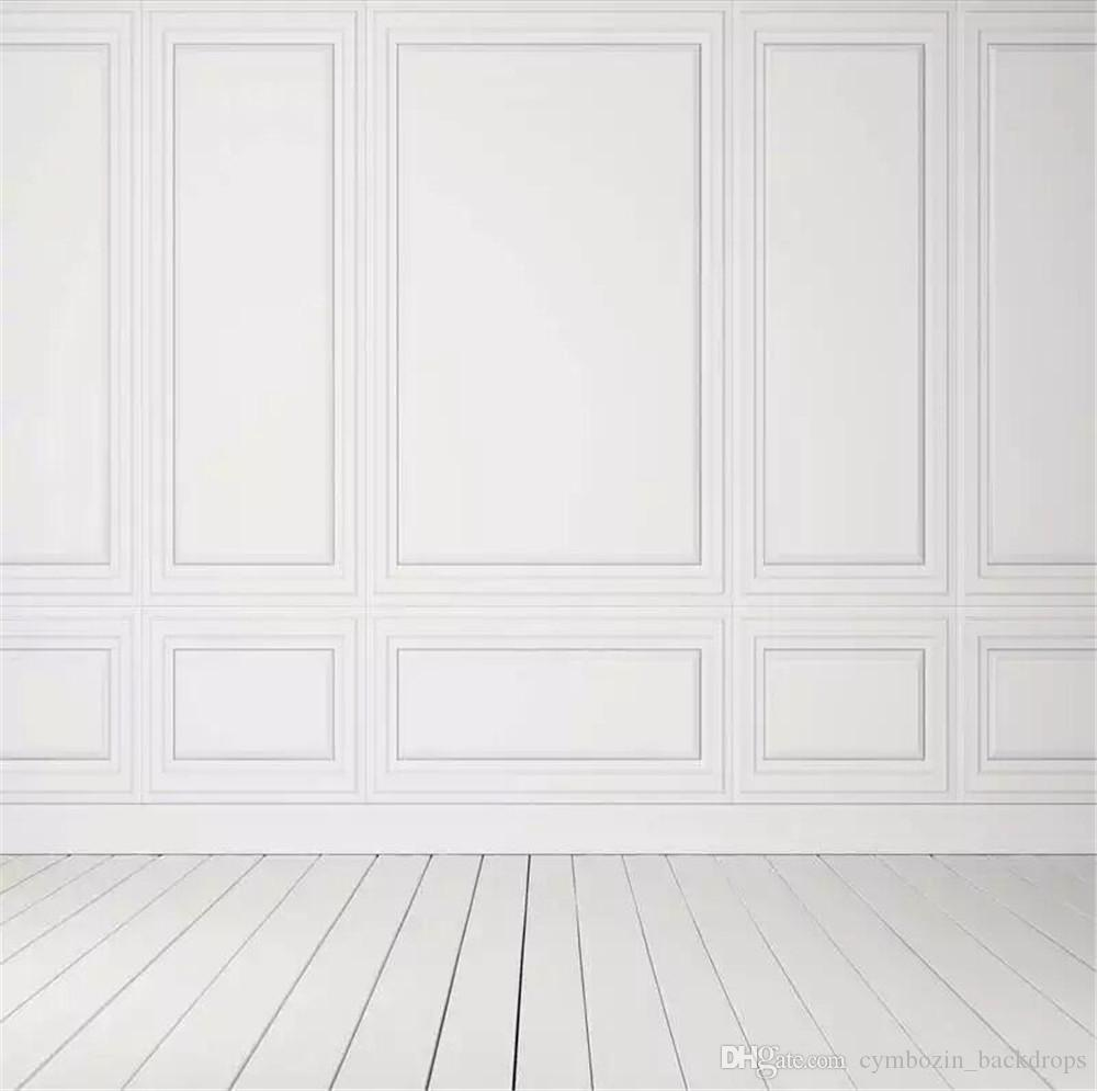 Pure White Wall Photography Backdrops Wood Floor Printed Interior Room Kids Children Photo Shoot Wallpaper Wedding Party Booth Background