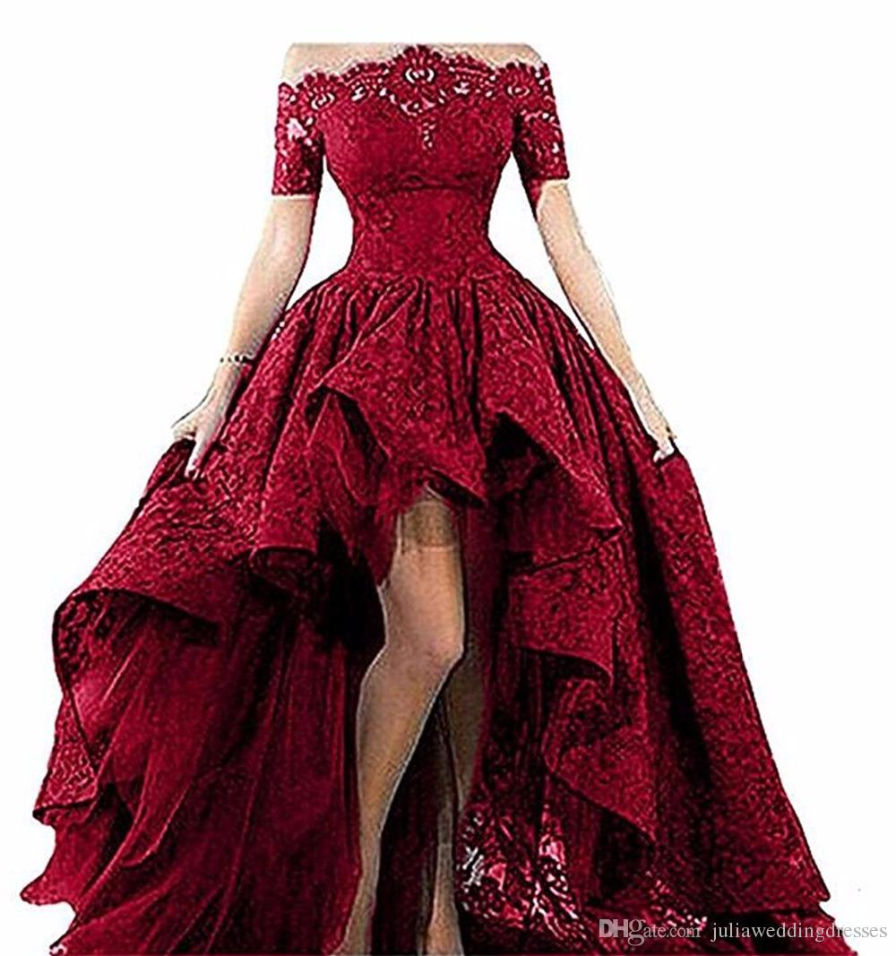 2018 New Elegant Black Lace Strapless Off The Shoulder Short Sleeves High Low Prom Dresses Evening Gowns Vestido Longo QC469