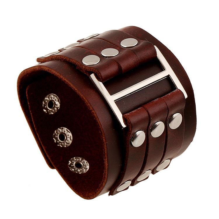 Rock denim jóias de alta qualidade punk ampla pulseira de couro atacado rebite homens bangle direto da fábrica