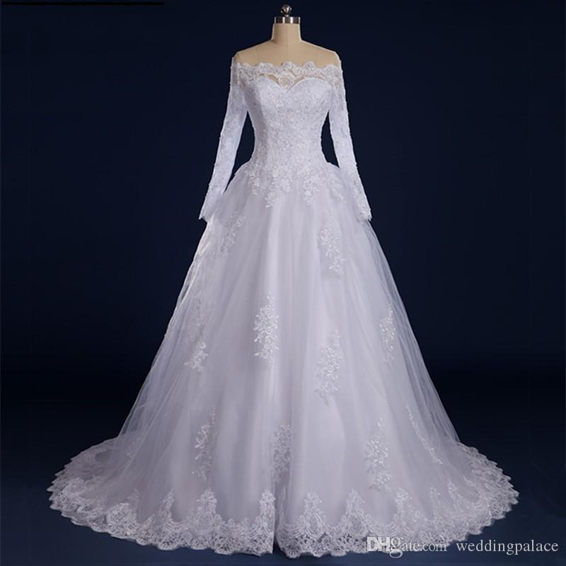 Real Long Sleeve A-line Wedding Dresses Button Back Court Train Appliques Beaded Princess Arabic Bride Bridal Dress Gown Wedding Gowns