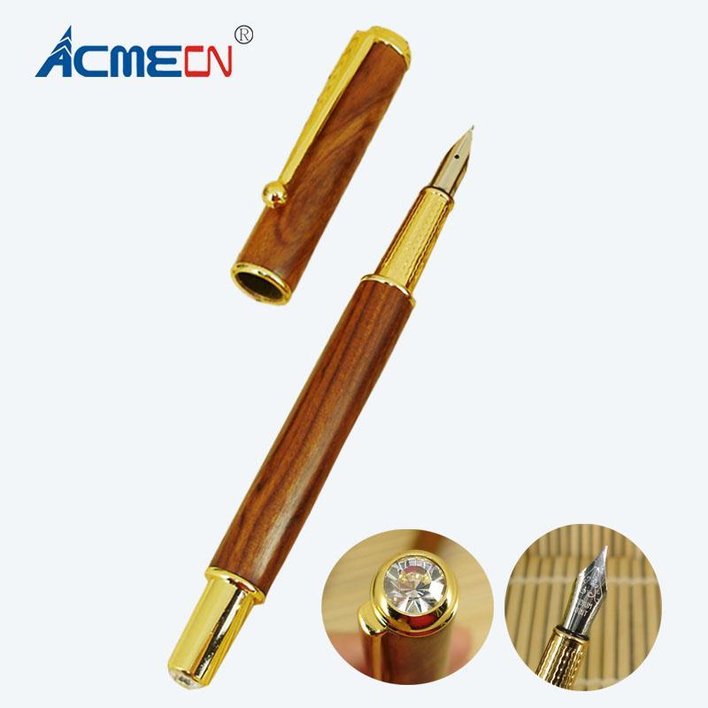 ACMECN خشبي نافورة القلم مع الذهب تقليم القلم العلوي وطرف مع الكريستال تصميم فريد من نوعه لأقلام الحبر السائل الطلاب