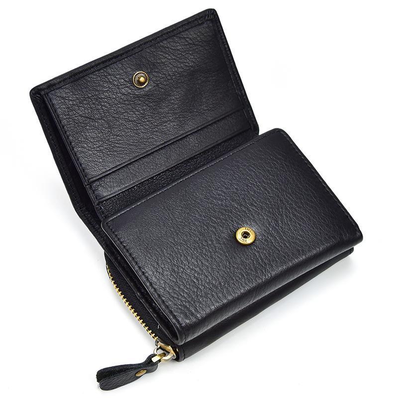 도매 - Unisex 정품 가죽 포켓 지갑 Thrifold 지퍼 포켓 짧은 지갑 지퍼 동전 케이스 스냅 진짜 가죽 짧은 지갑