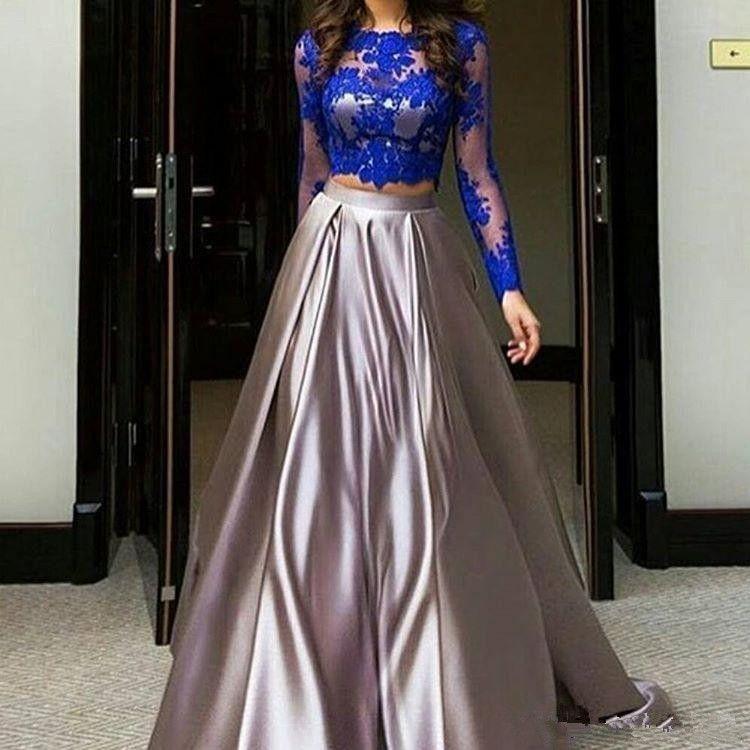Compre Vestidos Para Ocasiones Especiales Vestidos Largos De Noche De Dos Piezas Apliques De Encaje Manga Larga Transparente 2019 Vestidos De Fiesta