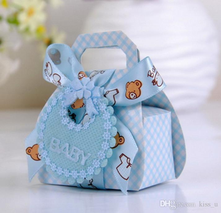 24X / lot Bären-Form-DIY Papier Hochzeit Geschenk Taufe Baby Shower Party Boxes Pralinenschachtel mit Lätzchen Stichworte Ribbons Favor