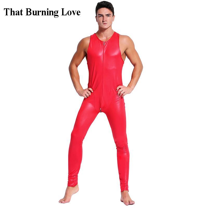 Faux Leather Sleeveless Wetlook Zentai Catsuit Jumpsuit Bodysuit for Men Stretch Leotard Bar Erotic Costumes 2XL Black Red