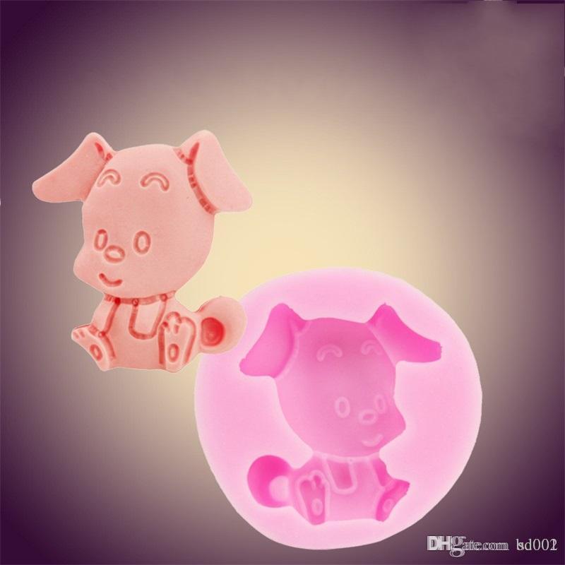 Moldes de jabón de silicona de seguridad diy linda forma del perro molde de la hornada de chocolate rosa pasta de azúcar del molde de la jalea popular 5 2sk BB