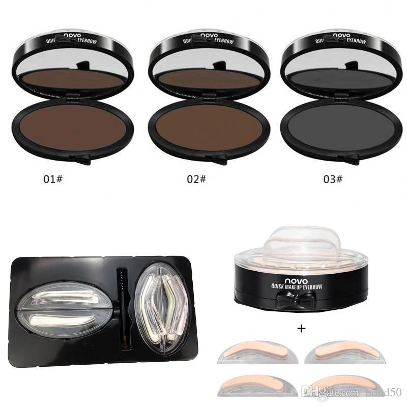 NOVO Ojos Maquillaje de Cejas Sello de Cejas en Polvo A Prueba de agua Gris Marrón Ojo en Polvo de Cejas con Plantillas de Cejas Herramientas de Cepillo DHL 5162