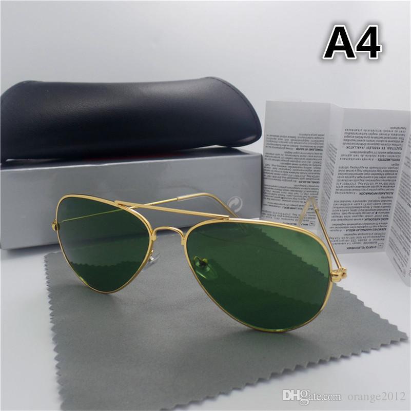 최고 품질의 유리 렌즈 라운드 프레임 패션 남자와 여자 코팅 선글라스 UV400 브랜드 디자이너 빈티지 스포츠 태양 안경 갈색 상자