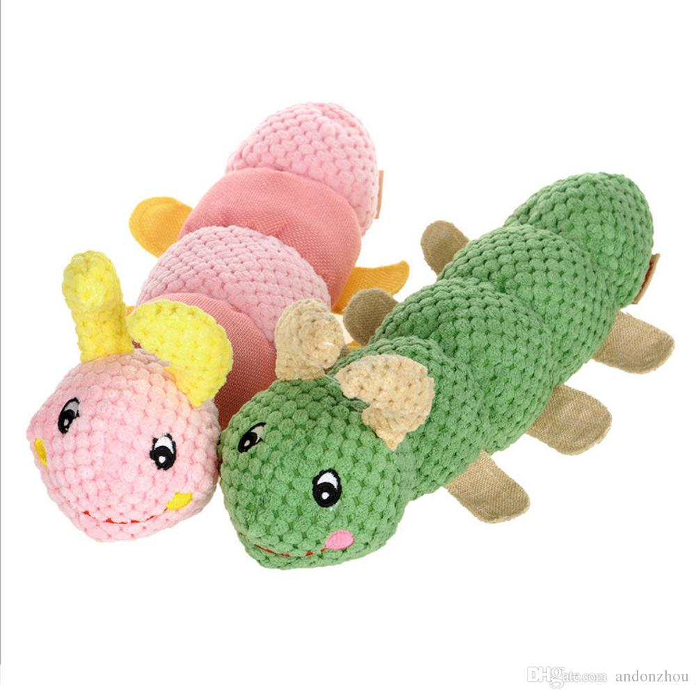 Soft Stuffed Animals Caterpillar-shaped Pet Dog Plush Squaeaky Toys Dog Chews Interactive Puppy Chew Teething Toys