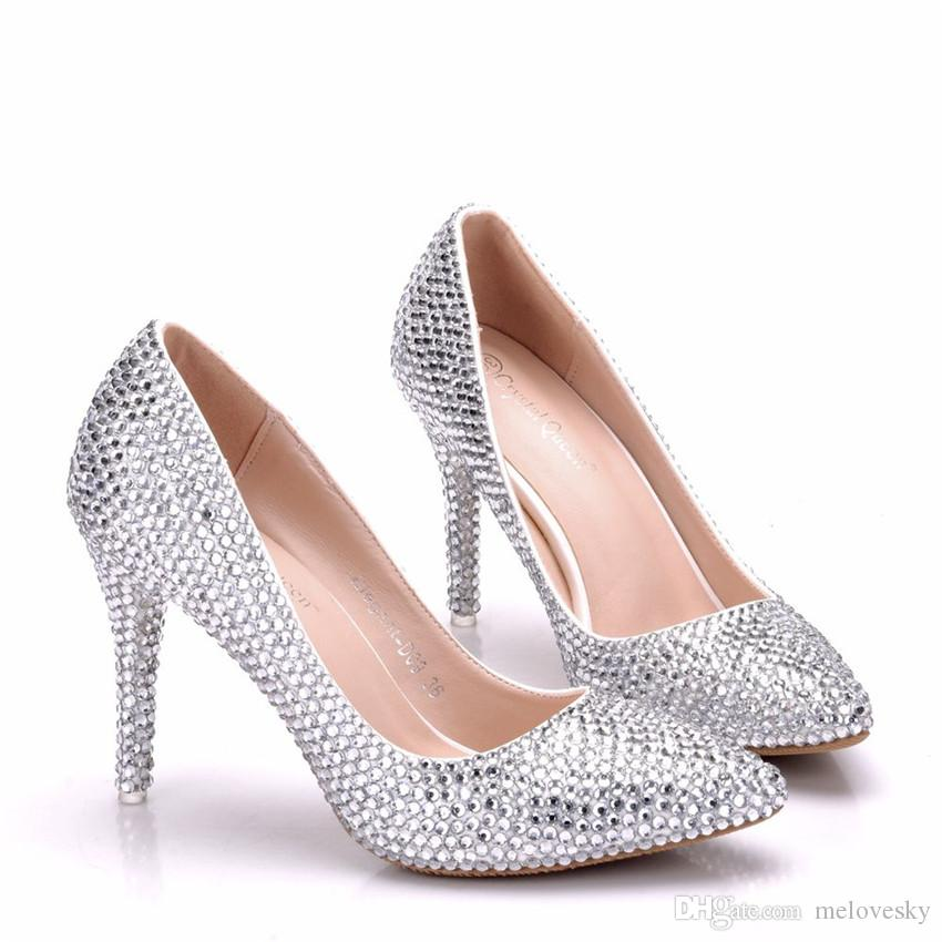 New Fashionl Handmade Silver pointed toe shoes for women 9cm heels Rhinestone wedding shoes thick heel shoes Plus Size
