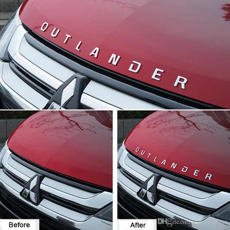 FIT для Mitsubishi Outlander 2013 - 2018 из нержавеющей стали SLIM Outlander Формулировки 3D Письмо наклейки Обрезка эмблема