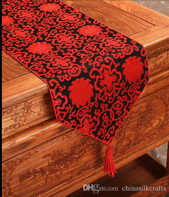Fancy 176 cm Long Chinese Silk Satin Table Runner Decoration Dining Table Pads Damask Table Cloth Runners Rectangular Coffee Tea Mat
