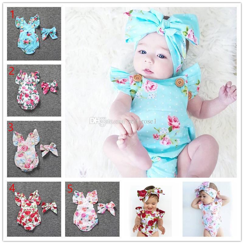 2020 신생아 아기 Romper 여자 여름 꽃 장난 꾸러기 + headhand 2 개 세트 아기 소녀 유아 꽃 점프 수트 의류 의상 0-24M