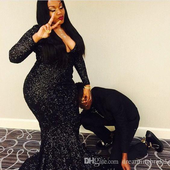 Черное с блестками русалка выпускного вечера платья с длинными рукавами 2018 N новый глубокий V-образным вырезом развертки вечернее платье вечерние платья на заказ плюс размер
