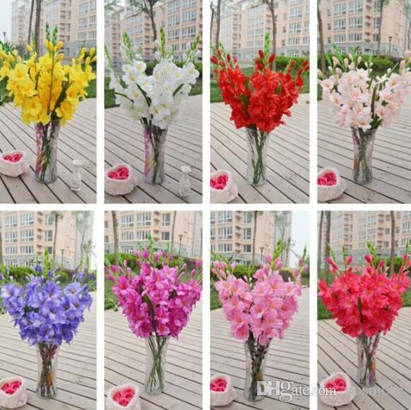 Silk Gladiolus Flower (7 heads/Piece) Fake Sword Lily for Wedding Party Centerpieces Artificial Decorative Flowers 80cm 12pcs