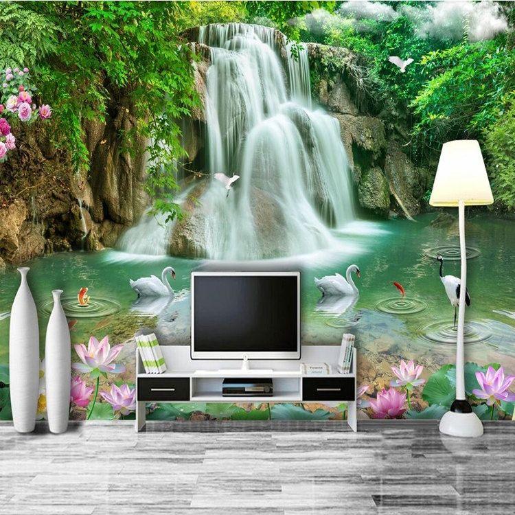 Arkadi Custom Photo Wallpaper Mural Wall Sticker Stereo Landscape Waterfall Landscape 3D TV Wall papel de parede 3d para