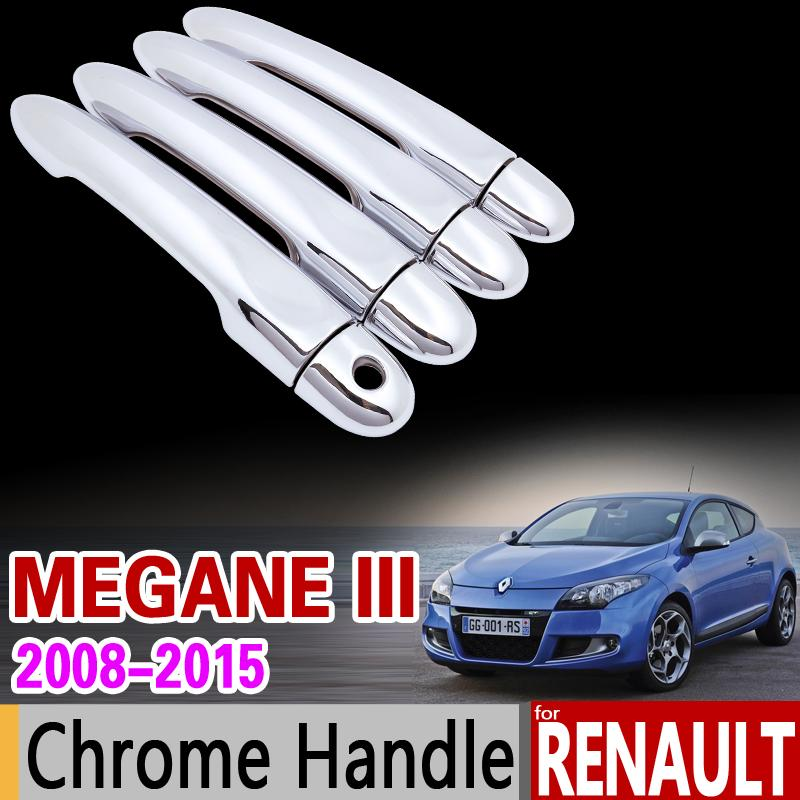 Renault Megane III 2008 için toptan-2015 Krom Kolu Kapak Trim 3 MK3 2009 2010 2011 2012 2013 2014 Aksesuarları Etiketler Araba Styling