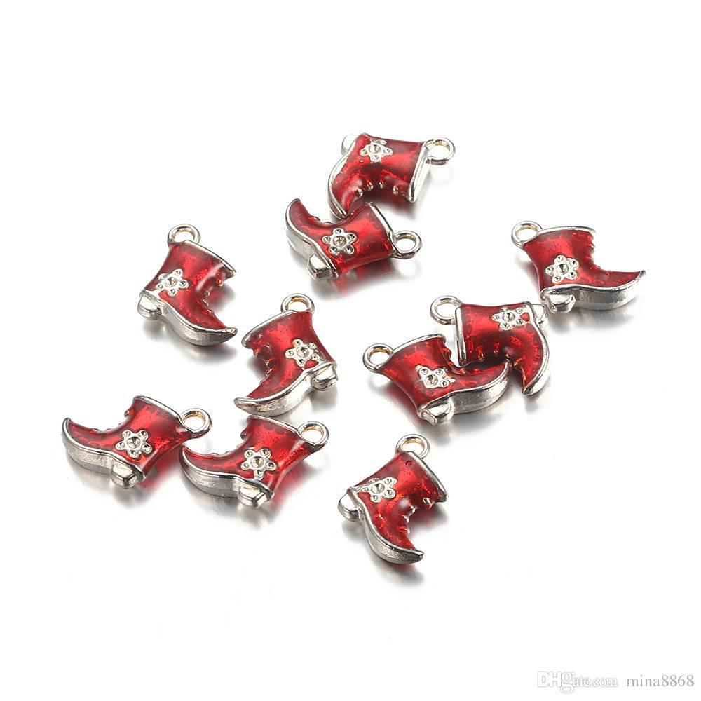 100 sztuk / partia 14x15mm Hurtownie Alloy Red Color Cute Wisiorek Emalia Santa Buty Charms Dla Biżuterii Naszyjnik DIY Dokonywanie Akcesoria Ustalenia