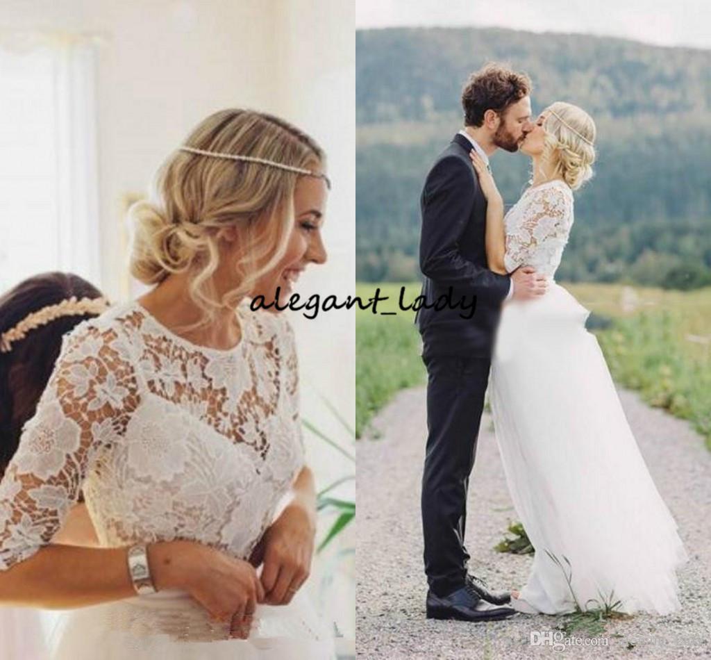 Abiti da sposa in pizzo bohemien con manica lunga 2018 modesto pizzo all'uncinetto gioiello fata paese giardino nuziale Boho abito da sposa a buon mercato