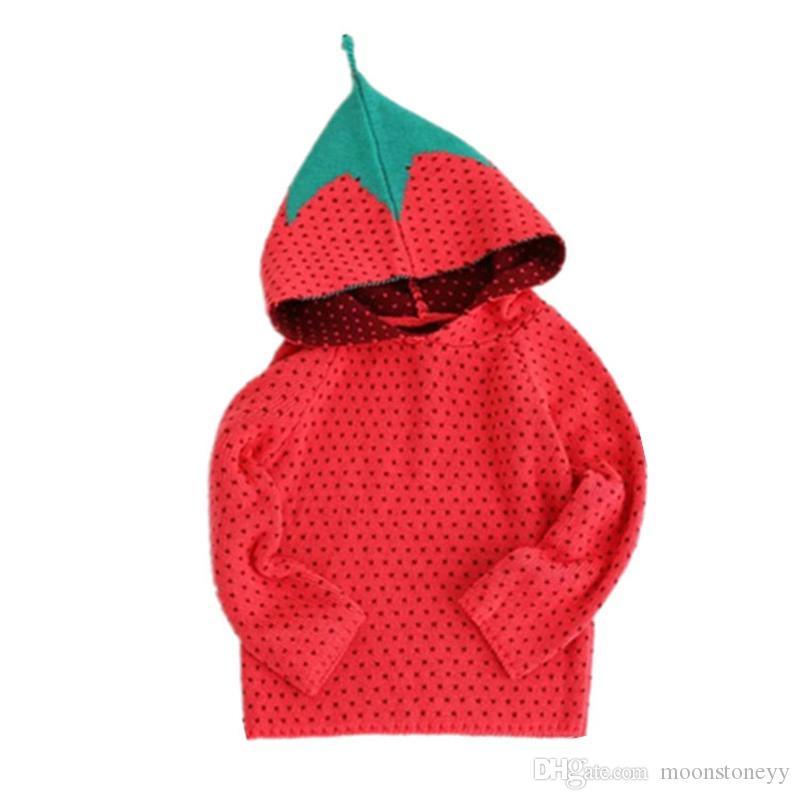 Nuevo otoño invierno para niños suéter rojo estilo fresa para niños niñas bebé otoño suéteres ropa de invierno