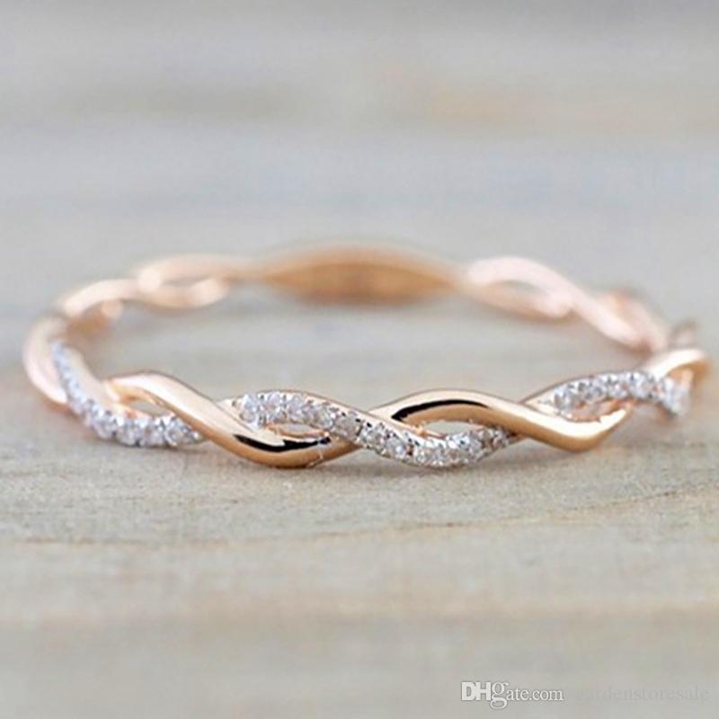 حلقات مستديرة للنساء رقيق ذهبي اللون تويست حبل التراص خواتم الزفاف في الفولاذ المقاوم للصدأ