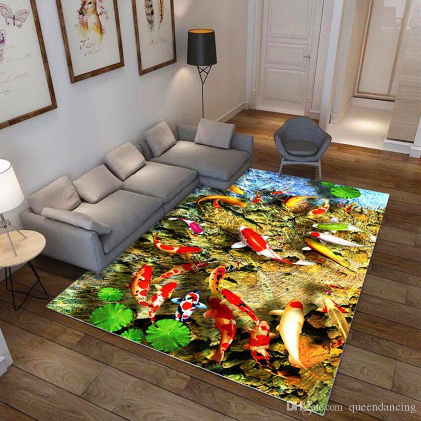 Antideslizante Peces de dibujos animados Impresión en 3D Sala de estar Alfombra Sala de estar Estudio Alfombra del piso Mesa de té Almohadilla para el pie Alfombrilla de baño Lavado fácil