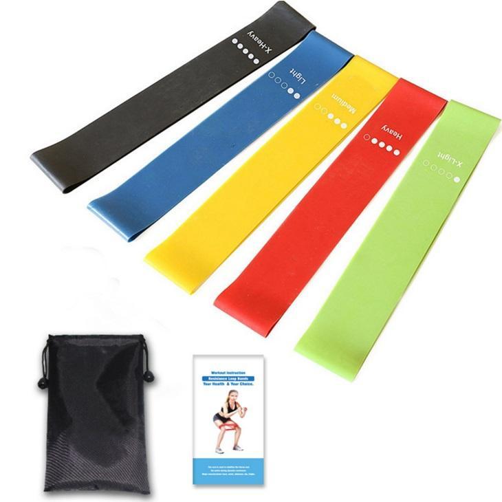 Fit simplifie les bandes d'exercices de boucle de résistance avec guide d'instructions, sac de transport, EBook et vidéos d'entraînement en ligne, lot de 5