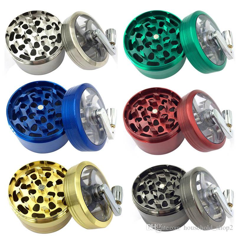 4 Layers metal smoke grinder 6 colors 63mm hand Grinder Smoke Crusher Hand Muller smoking tools