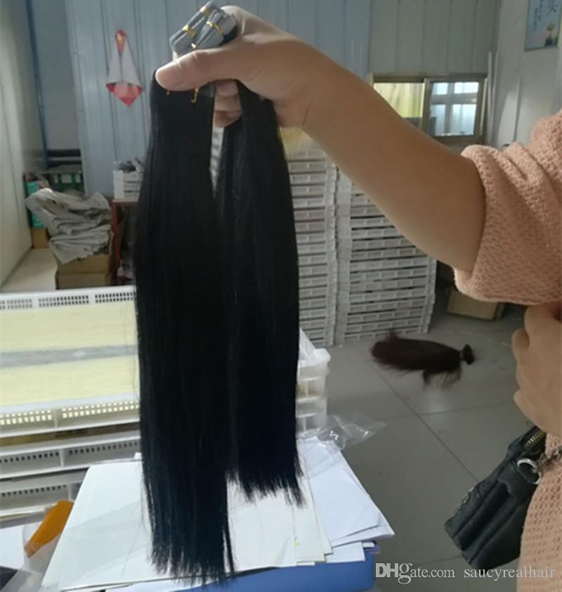 Elibess inferior grueso del pelo 200g 80pcs Remy pegamento cinta de trama de la piel En el 100% cabello humano peruano Extensiones barato al por mayor Niza recto natural