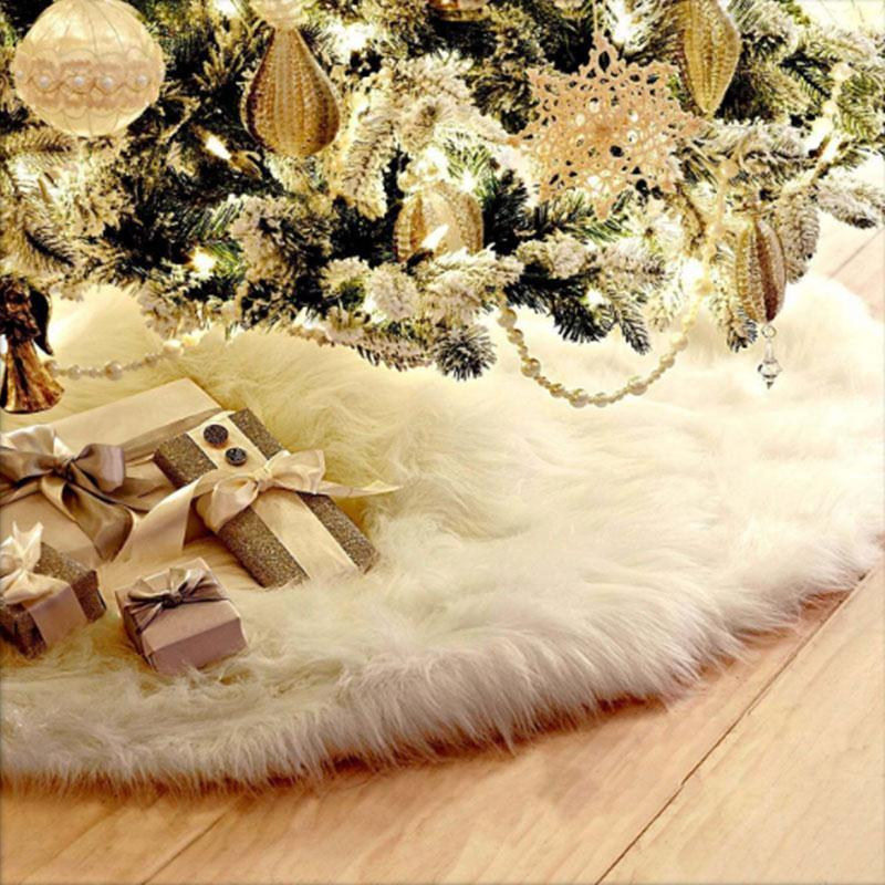 Festival Surround Christmas Tree Falda Alfombra Decoración Hogar 90cm / 122cm No tejido Delicado Suave Felpa Blanco